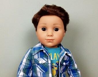 American Girl Doll Logan Custom with Brown Eyes
