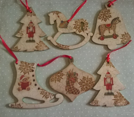 Wooden hanging christmas decoration set