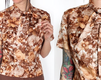 60s Brown and Peach Floral Tie Neck Short Sleeve Blouse XS/S