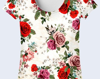 Flowers T Shirt, Cute Ladies Top, Womens Shirts, White T Shirt, Mother Day Gift, Womens Summer Clothing, Flower Pattern