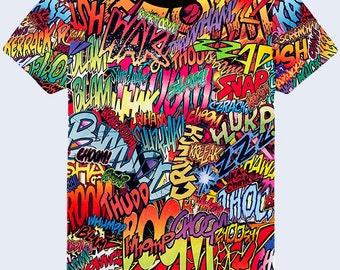 Colorful Mens Shirt, Multicolor Graphic T Shirt, Street Fashion Tee Shirt, Cool T Shirt, Mens Top, T Shirt With Sayings