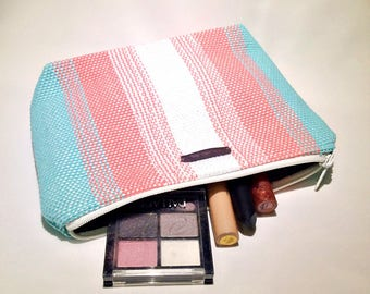 Aqua Coral and Pearl Handwoven Cosmetic Bag