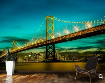 bridge wallpaper, bridge wall mural,  California wallpaper, San Francisco wallpaper, bridge wall mural, bridge wall decal, city night decal