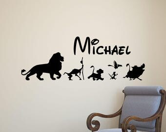Personalized Name Lion King Wall Decal Simba Movie Disney Vinyl Sticker Home Room Bedroom Decor Nursery Poster Art Mural Custom Print 78