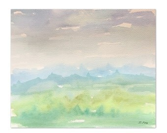 Abstract watercolor Painting, Original Landscape, Mountain Landscape, Blue Painting, Nursery Art, Green Mountain Watercolor painting.