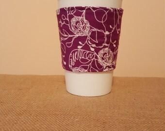 Fabric coffee cozy/ cup holder/ coffee sleeve-
