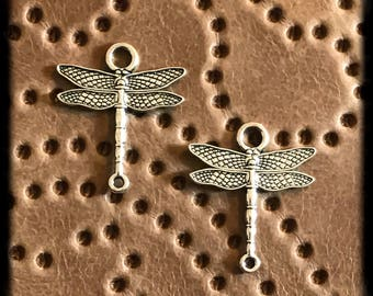 Antique Silver Dragonfly Dangle Drop Charms - 28mm - Pair - B43