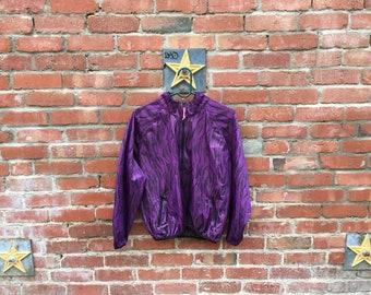 SALE! Zebras! Jacket / 80s 90s Purple Zebra Windbreaker Jacket Medium Small Biking