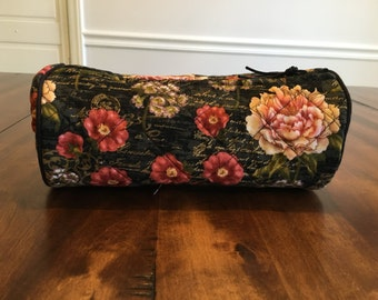 Quilted Cosmetic Bag - Flower and Script Print