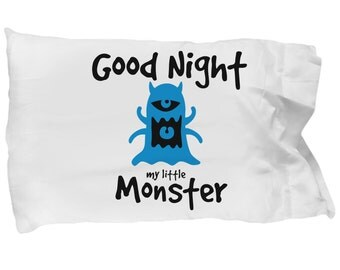 Good Night My Little Monster Pillowcase (Blue Monster) -  Cute Child Birthday gift, Gift for child's move to big bed, cute monster