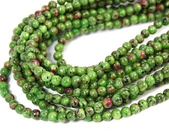 """Two 15.5"""" strands Ruby in Zoisite Beads 4mm, Two 14.5"""" strands"""