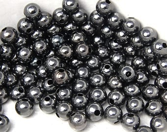 200 beads, 6mm Gunmetal Spacer beads round