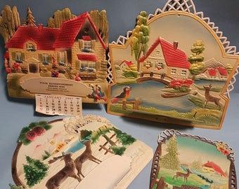 Vintage Die Cut Calendar Toppers Western Germany, Various Designs Batch 2