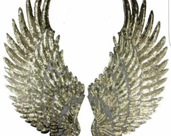 GOLD or SILVER Sequins WINGS-  Heat Iron on Patch/Transfer