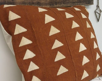 Rust Color Mudcloth with Large White Diamonds