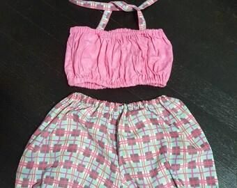 Cutie baby girls set 6m - 24m tube halter bubble Bloomer girl pink summer