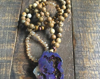 Purple Druzy Brown Beaded Necklace