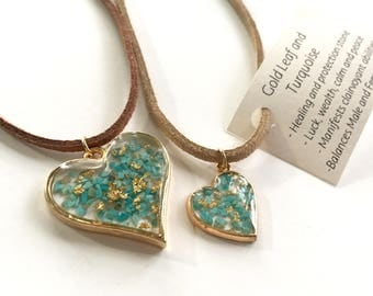 Turquoise and Gold Leaf Heart Pendant
