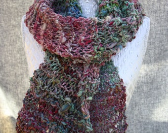Hand knitted multi coloured scarf in Scottish yarn