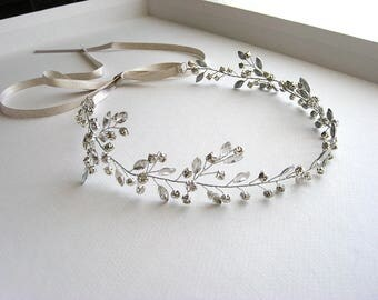 Bridal silver hair band - Heather
