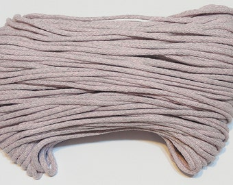 Pink grey cotton cord 100 m (110 yd) 5 mm (0,2 in), cotton rope, macrame cord