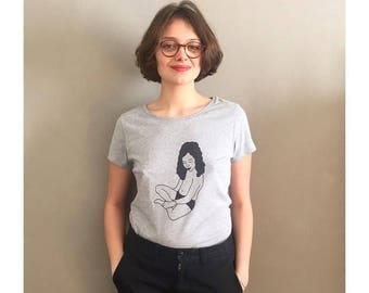 """Suit"" t-shirt - grey melange - woman - 100% organic cotton"