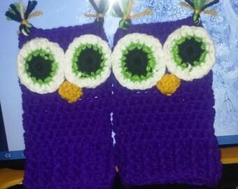 Purple Owl Fingerless Gloves