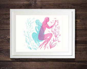 Biology - Pink & Blue Illustrated Spring Easter Art Print
