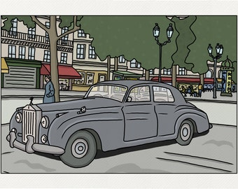 Rolls at the Palais-Royal - Paris Illustration - printed on fine art paper
