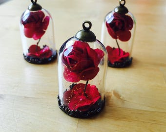 The Beautiful and the Beast Enchanted Rose bronze Necklace fairytale Belle tale as old as time fairytale globe Beauty and the Beast terrarium