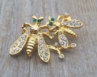 Rhinestone Bees Brooch