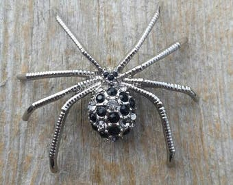 Black and Clear Rhinestone Spider Brooch