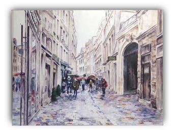 Watercolor art print mounted on wood panel — ready to hang — Paris Street in the Rain