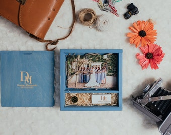"""2 x Square Wooden Box for prints 4x6"""" + USB 
