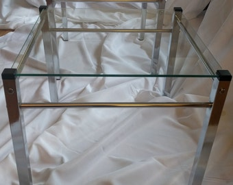 Pair of Vintage Square Chrome and Glass Mid Century Modern Side or End Tables in manner of Milo Baughman MCM