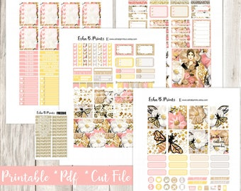 QUEEN BEE Printable Planner Stickers/Weekly Kit/Erin Condren/Cutfiles Fourth of July Queen Bumble Summer Glam Fashion Designer Glitter Diva