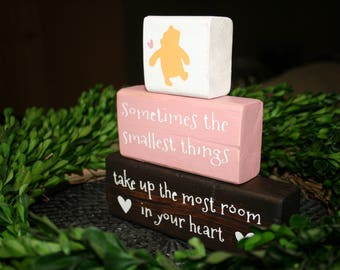 Classic winnie the pooh nursery birth announcement wood blocks classic winnie the pooh nursery quote smallest thing baby shower winnie the pooh nursery negle Image collections