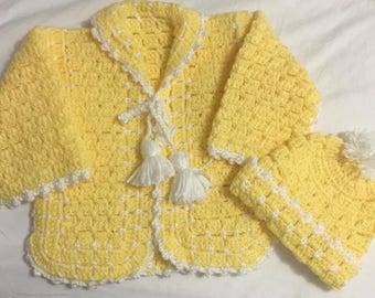 Beautiful Handmade Crochet Baby Sweater and Beanie