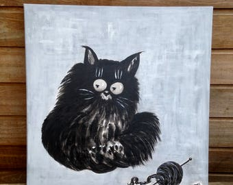 "Table painting ""Cat pelota"""