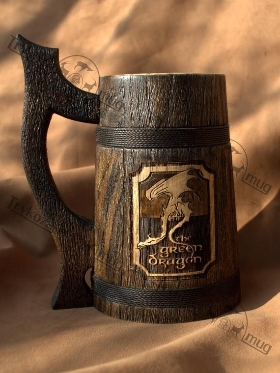 The green dragon beer stein personalized wooden mug 0 7 l for Dragon gifts for men