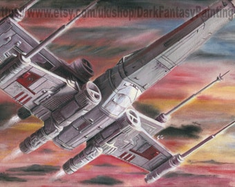 Star Wars Painting - X Wing Sunset - Rogue One Art - Framed Oil painting - NOT a print