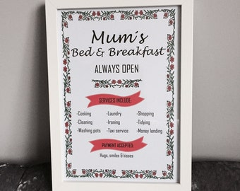 Personalised 'Mum's Bed & Breakfast' Print with Frame