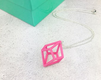 3D printed pink geometric statement necklace