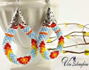 Native style earrings, Turquoise seed bead earrings, Ethnic earrings, Native beaded jewelry, Peyote earrings Tribal fashion, Native beadwork