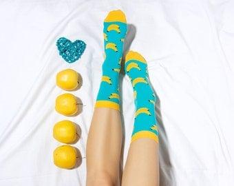 Banana socks, fun socks, fruit pattern socks, cozy socks, women socks, casual socks, cool socks, gift socks, cotton socks, made in EU socks