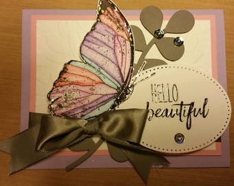 Butterfly Hello Beautiful greeting card