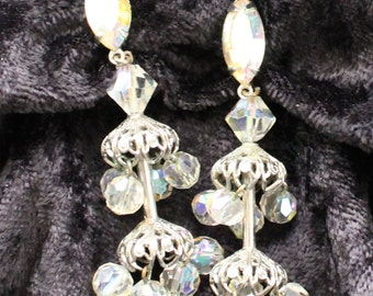 BNE # 126 Vintage Lewis Segal Silver Tone Crystal Dangle Chandelier Clip On Earrings