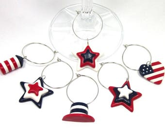 Independence Day Wine Charms, 4th of July, Picnic Charms, Party Gift, Housewarming gift, Hostess gift