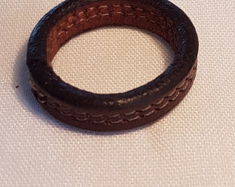 Leather men's ring