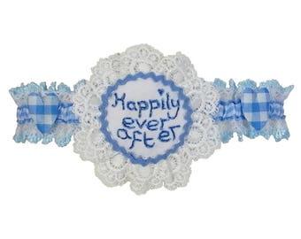 Wedding garter, blue garter, happily ever after, garter